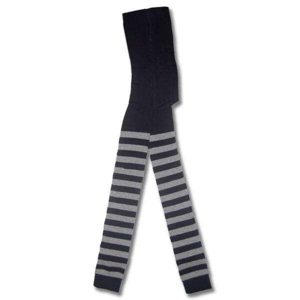 Csíkos gyermek lábfej nélküli harisnyanadrág sötétkék szürke vastag csíkos