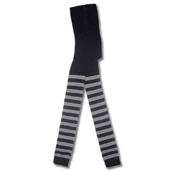 gyermek lábfej nélküli harisnyanadrág sötétkék szürke vastag csíkos