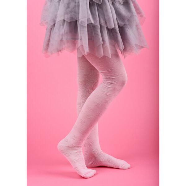 gyermek harisnyanadrág 3D rózsaszín masnis