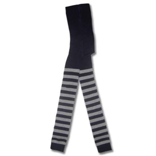 Bébi lábfej nélküli harisnyanadrág sötétkék-szürke vastag csíkos