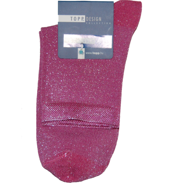 Egyszínű női bokazokni pink lurex