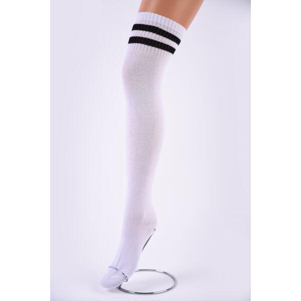 Női térd feletti zokni fehér-fekete csíkkal