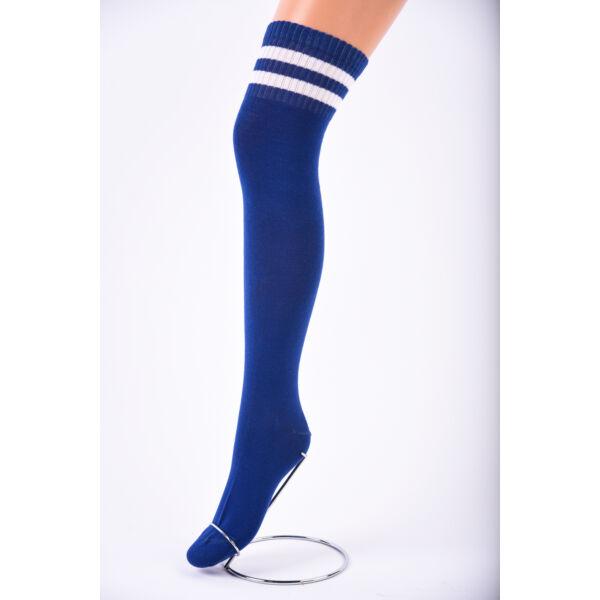 Női térd feletti zokni kék-fehér csíkkal