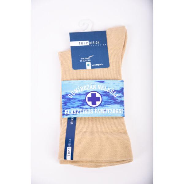 Wellness' elasztikus passzéval pamutzokni drapp